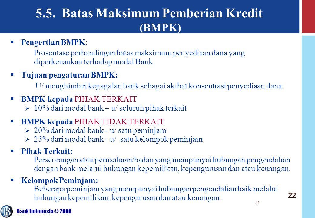 Bank Indonesia @ 2006 24 5.5. Batas Maksimum Pemberian Kredit (BMPK)  Pengertian BMPK: Prosentase perbandingan batas maksimum penyediaan dana yang di
