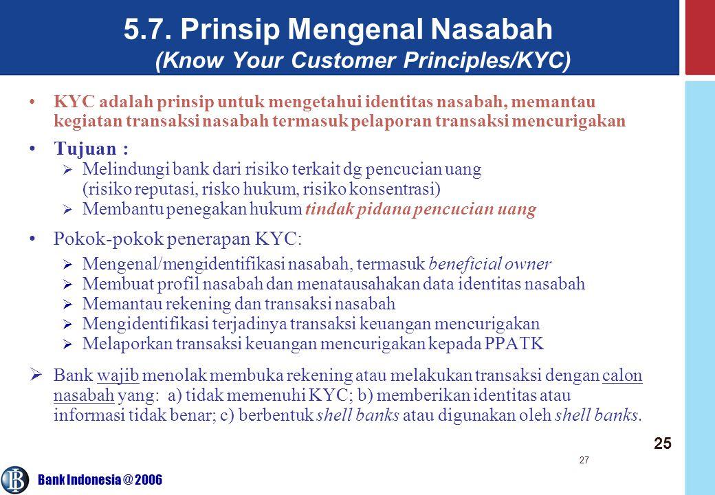 Bank Indonesia @ 2006 27 5.7. Prinsip Mengenal Nasabah (Know Your Customer Principles/KYC) KYC adalah prinsip untuk mengetahui identitas nasabah, mema