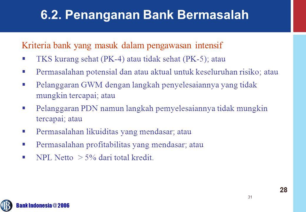 Bank Indonesia @ 2006 31 6.2. Penanganan Bank Bermasalah Kriteria bank yang masuk dalam pengawasan intensif  TKS kurang sehat (PK-4) atau tidak sehat