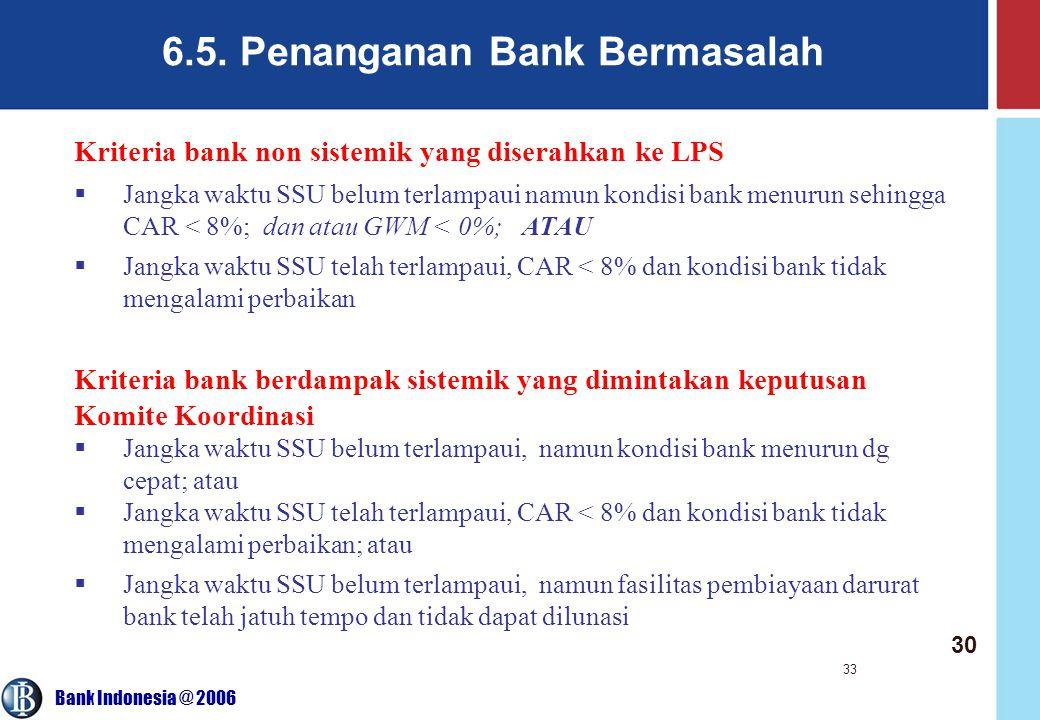 Bank Indonesia @ 2006 33 6.5. Penanganan Bank Bermasalah Kriteria bank non sistemik yang diserahkan ke LPS  Jangka waktu SSU belum terlampaui namun k