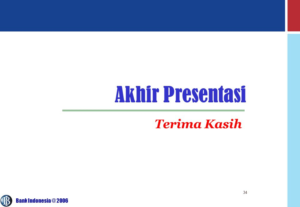 Bank Indonesia @ 2006 34 Akhir Presentasi Terima Kasih