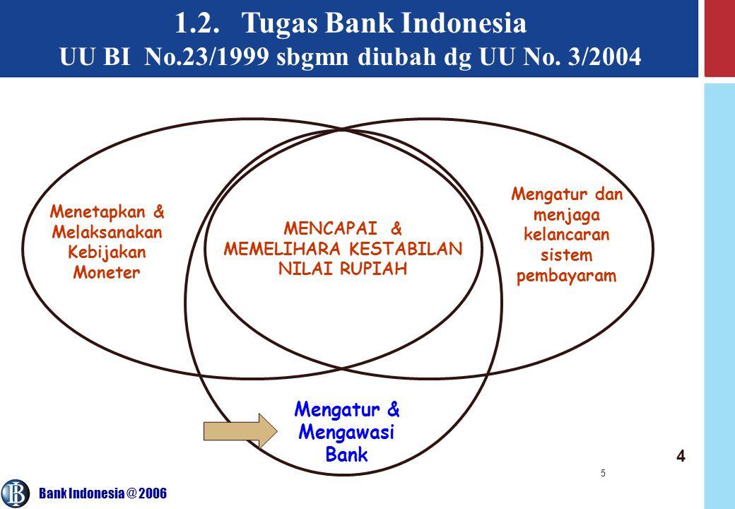 Bank Indonesia @ 2006 5 1.2. Tugas Bank Indonesia UU BI No.23/1999 sbgmn diubah dg UU No. 3/2004 Menetapkan & Melaksanakan Kebijakan Moneter MENCAPAI
