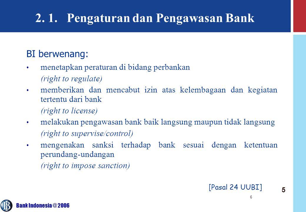 Bank Indonesia @ 2006 6 2. 1. Pengaturan dan Pengawasan Bank [Pasal 24 UUBI] BI berwenang: menetapkan peraturan di bidang perbankan (right to regulate