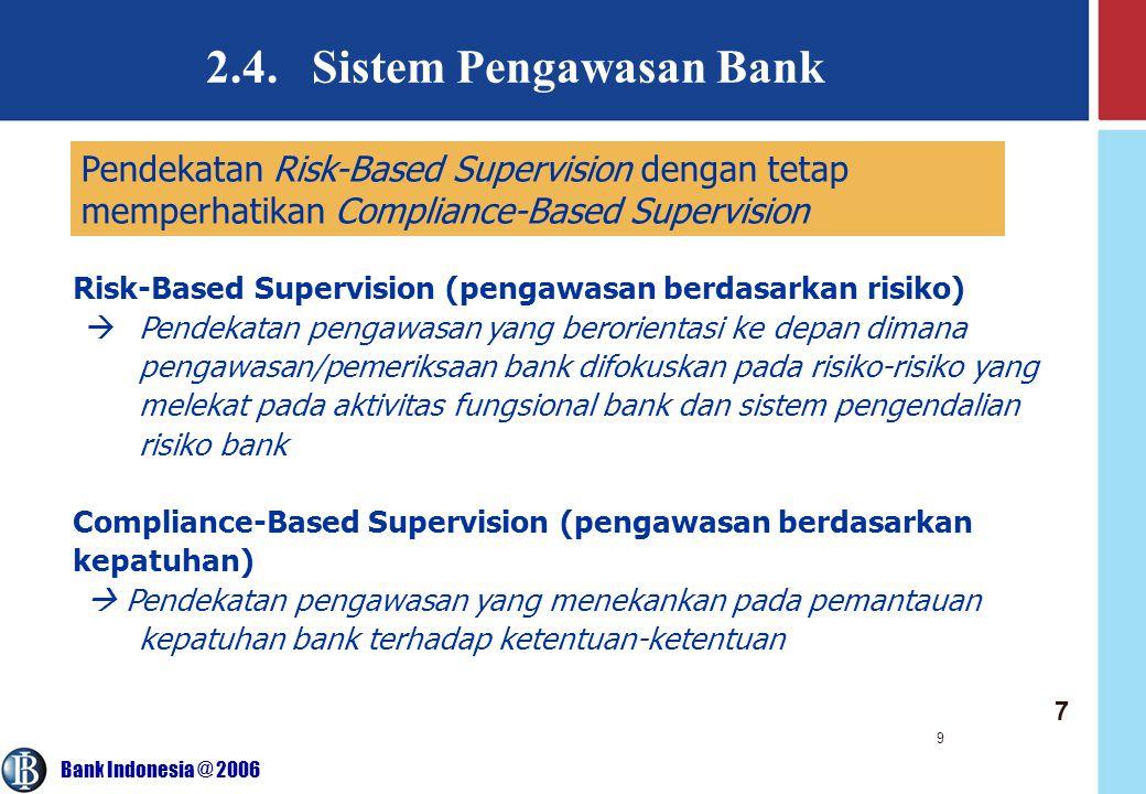 Bank Indonesia @ 2006 9 2.4. Sistem Pengawasan Bank Pendekatan Risk-Based Supervision dengan tetap memperhatikan Compliance-Based Supervision Risk-Bas