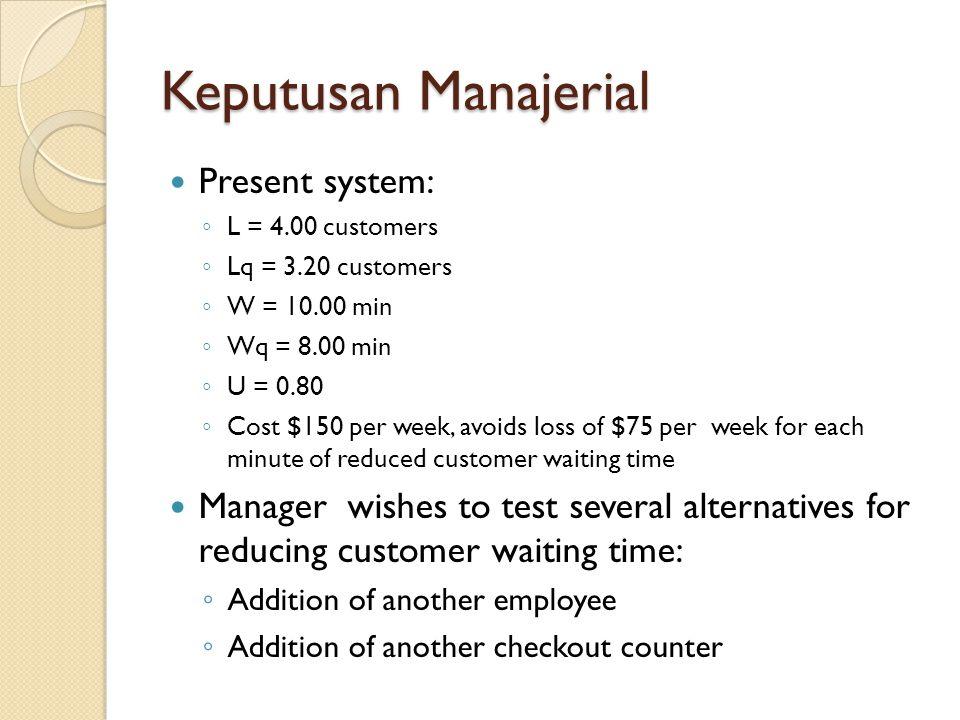 Keputusan Manajerial Present system: ◦ L = 4.00 customers ◦ Lq = 3.20 customers ◦ W = 10.00 min ◦ Wq = 8.00 min ◦ U = 0.80 ◦ Cost $150 per week, avoid