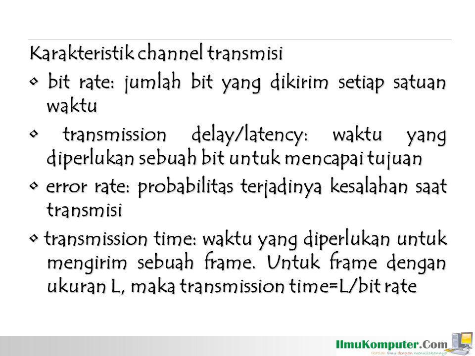 Karakteristik channel transmisi bit rate: jumlah bit yang dikirim setiap satuan waktu bit rate: jumlah bit yang dikirim setiap satuan waktu transmissi