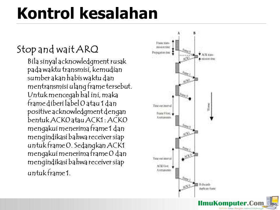 Kontrol kesalahan Stop and wait ARQ Bila sinyal acknowledgment rusak pada waktu transmisi, kemudian sumber akan habis waktu dan mentransmisi ulang fra
