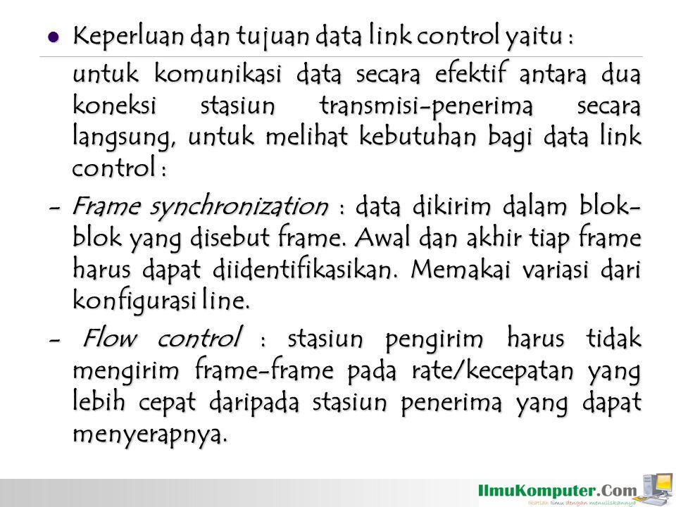 Keperluan dan tujuan data link control yaitu : Keperluan dan tujuan data link control yaitu : untuk komunikasi data secara efektif antara dua koneksi