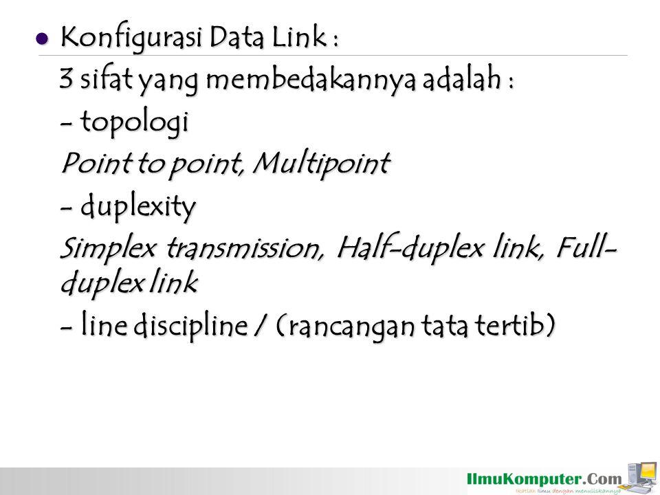 Konfigurasi Data Link : Konfigurasi Data Link : 3 sifat yang membedakannya adalah : - topologi Point to point, Multipoint - duplexity Simplex transmis