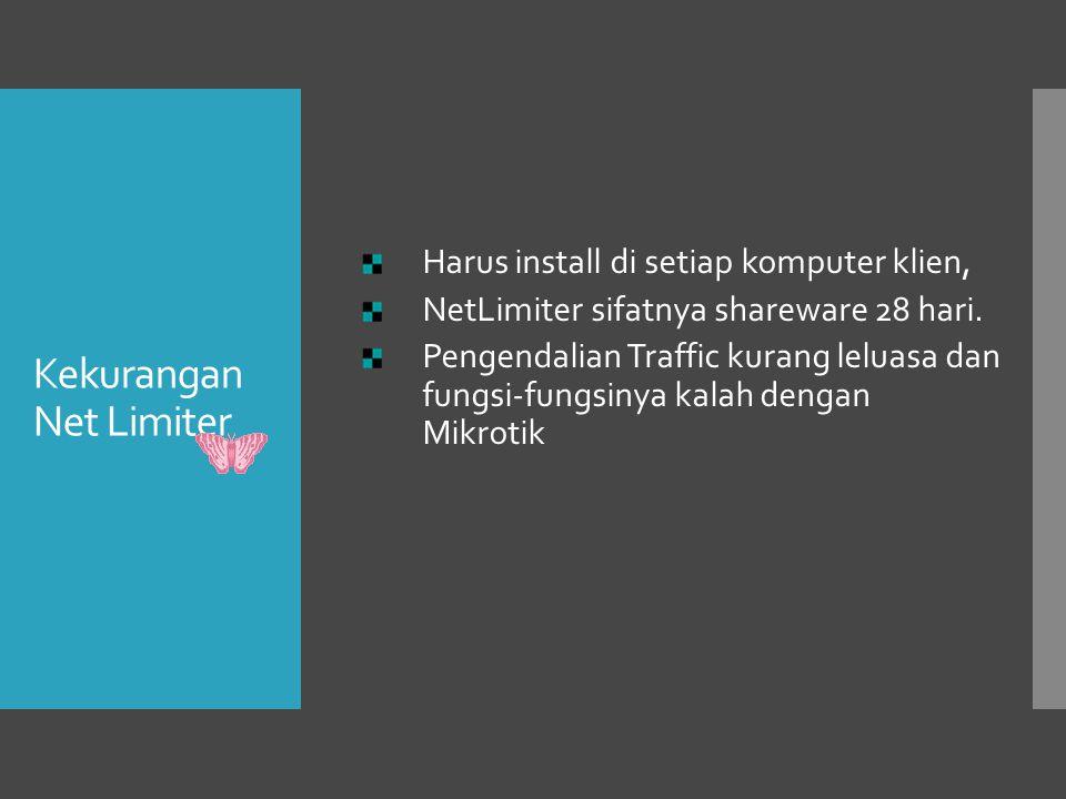 Kekurangan Net Limiter Harus install di setiap komputer klien, NetLimiter sifatnya shareware 28 hari. Pengendalian Traffic kurang leluasa dan fungsi-f