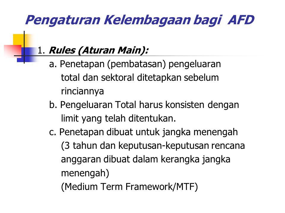 Pengaturan Kelembagaan bagi AFD 1. Rules (Aturan Main): a. Penetapan (pembatasan) pengeluaran total dan sektoral ditetapkan sebelum rinciannya b. Peng