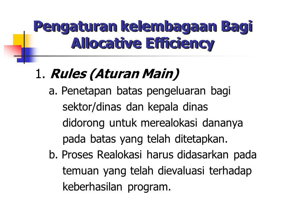 Pengaturan kelembagaan Bagi Allocative Efficiency 1. Rules (Aturan Main) a. Penetapan batas pengeluaran bagi sektor/dinas dan kepala dinas didorong un
