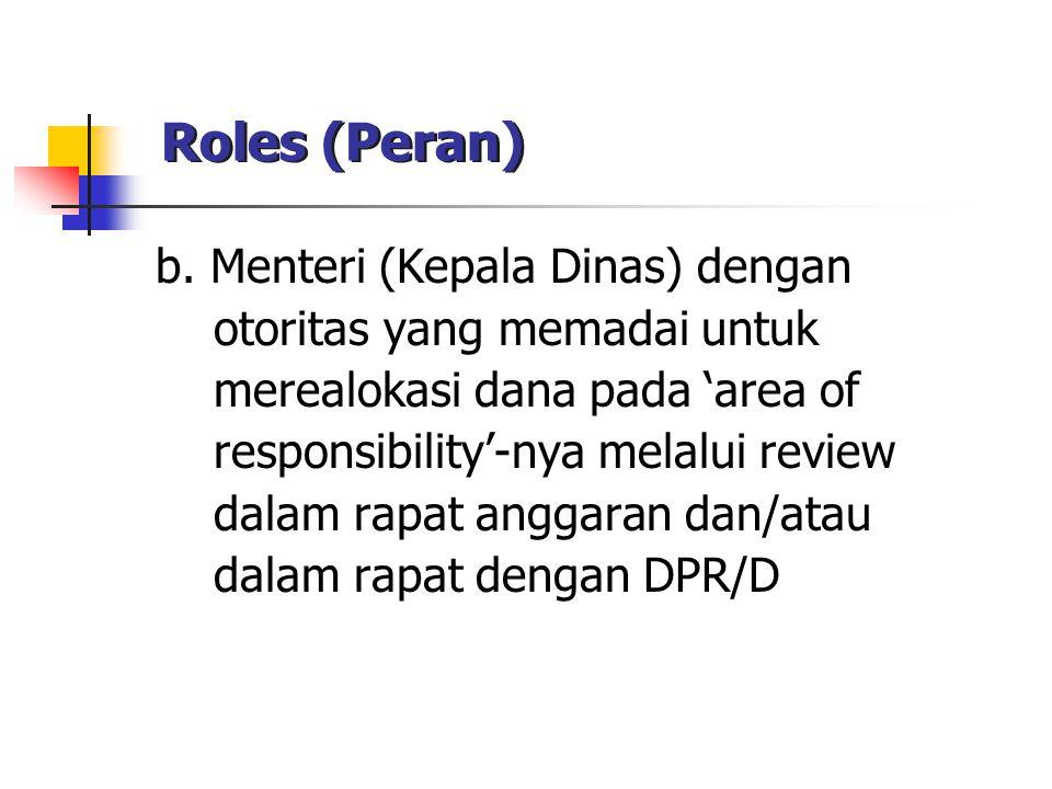 Roles (Peran) b. Menteri (Kepala Dinas) dengan otoritas yang memadai untuk merealokasi dana pada 'area of responsibility'-nya melalui review dalam rap