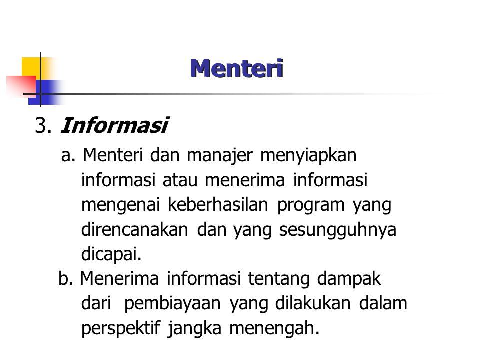 Menteri 3. Informasi a. Menteri dan manajer menyiapkan informasi atau menerima informasi mengenai keberhasilan program yang direncanakan dan yang sesu