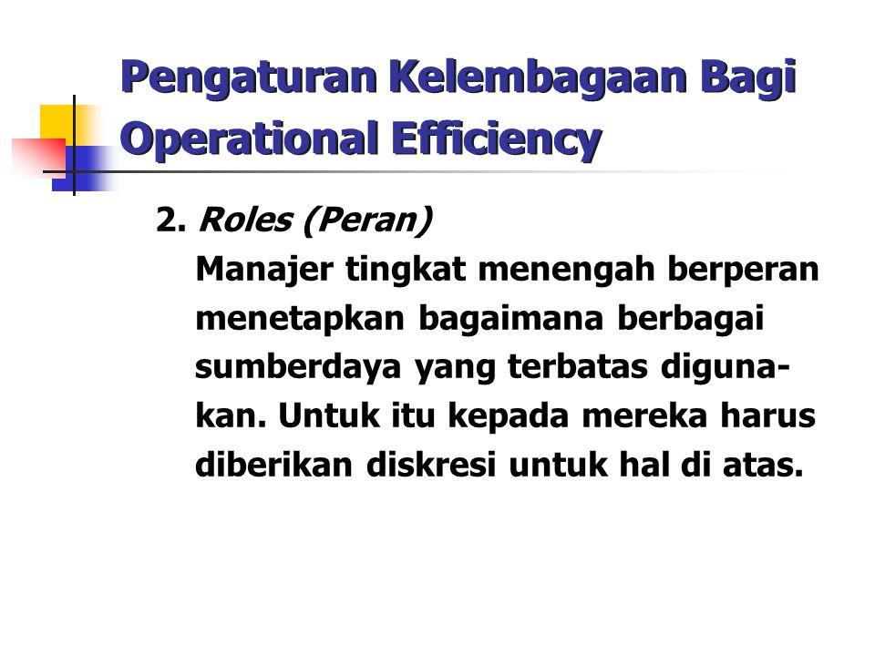 Pengaturan Kelembagaan Bagi Operational Efficiency 2. Roles (Peran) Manajer tingkat menengah berperan menetapkan bagaimana berbagai sumberdaya yang te