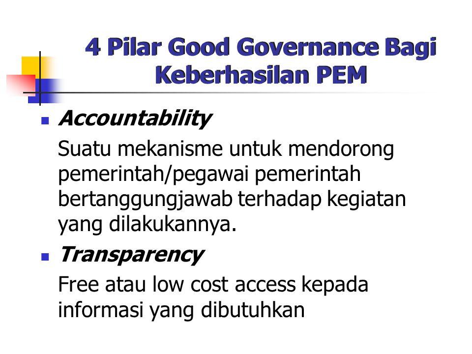 4 Pilar Good Governance Bagi Keberhasilan PEM Accountability Suatu mekanisme untuk mendorong pemerintah/pegawai pemerintah bertanggungjawab terhadap k