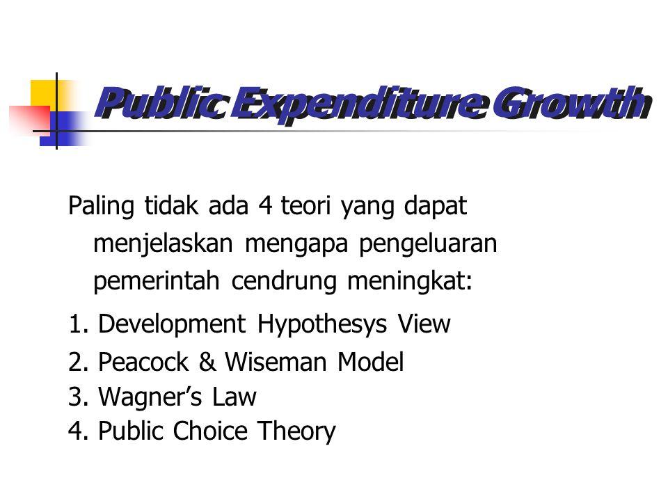 Public Expenditure Growth Paling tidak ada 4 teori yang dapat menjelaskan mengapa pengeluaran pemerintah cendrung meningkat: 1. Development Hypothesys