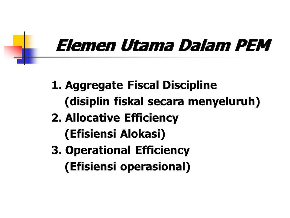 Elemen Utama Dalam PEM 1. Aggregate Fiscal Discipline (disiplin fiskal secara menyeluruh) 2. Allocative Efficiency (Efisiensi Alokasi) 3. Operational