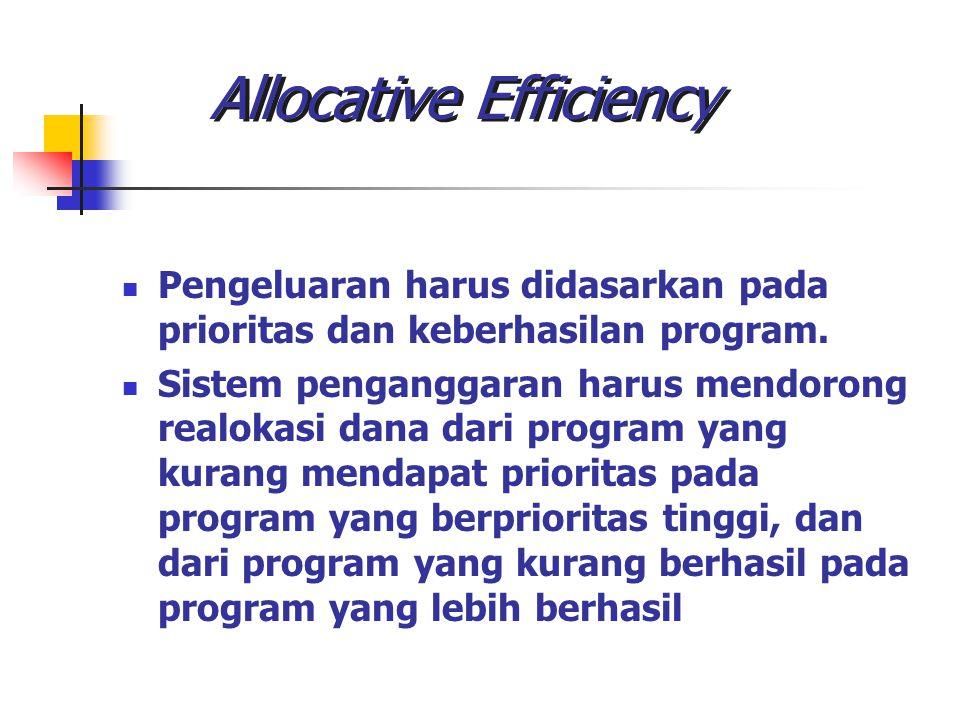 Allocative Efficiency Pengeluaran harus didasarkan pada prioritas dan keberhasilan program. Sistem penganggaran harus mendorong realokasi dana dari pr
