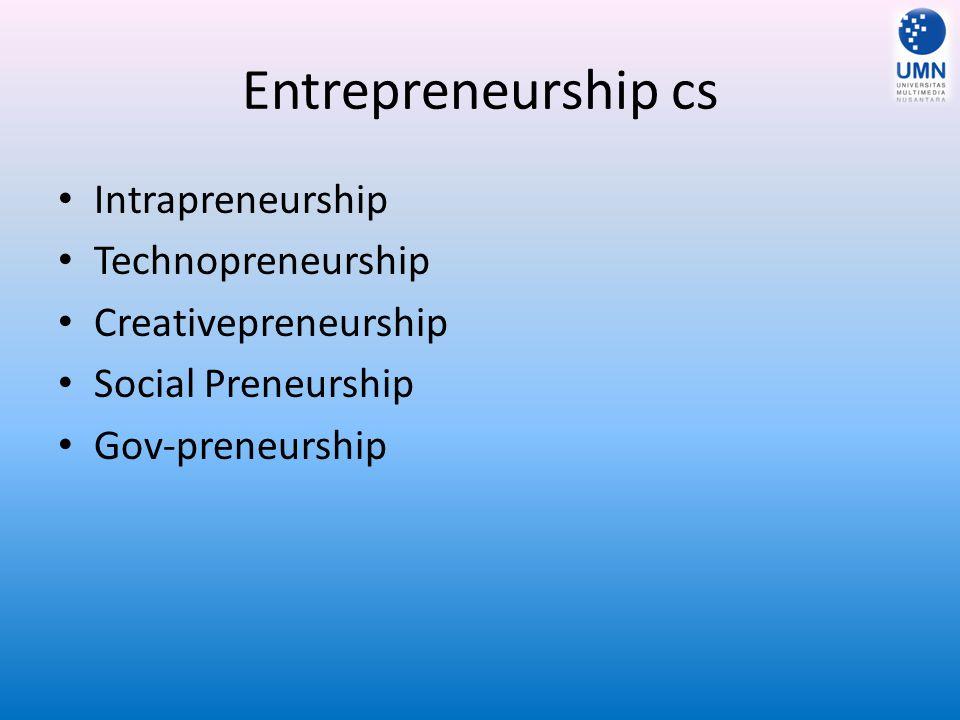 Entrepreneurship cs Intrapreneurship Technopreneurship Creativepreneurship Social Preneurship Gov-preneurship