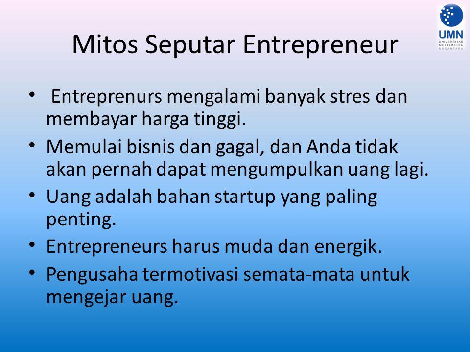 Mitos Seputar Entrepreneur Entreprenurs mengalami banyak stres dan membayar harga tinggi. Memulai bisnis dan gagal, dan Anda tidak akan pernah dapat m