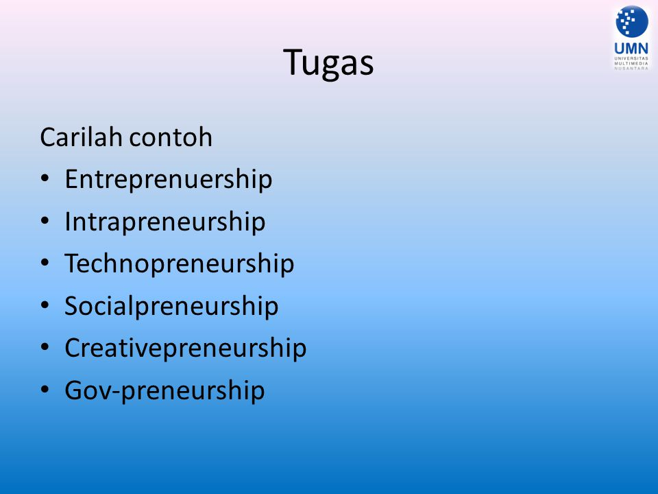 Tugas Carilah contoh Entreprenuership Intrapreneurship Technopreneurship Socialpreneurship Creativepreneurship Gov-preneurship