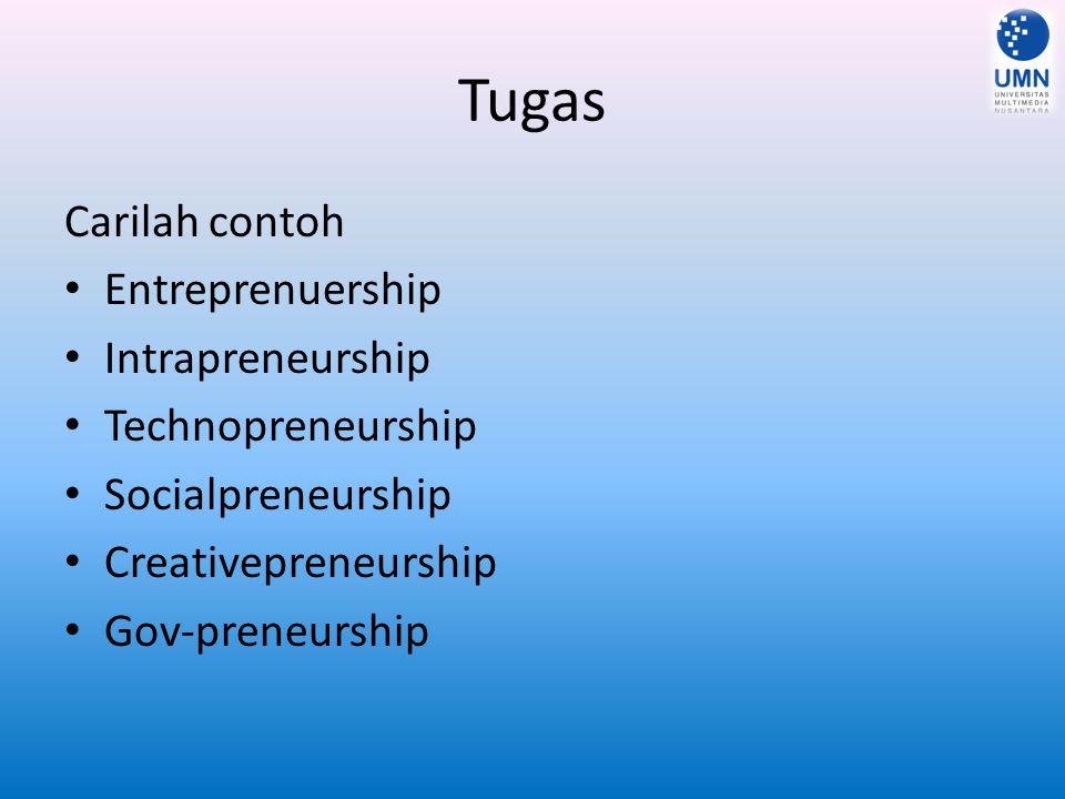 Tugas Carilah contoh Entreprenuership Intrapreneurship Technopreneurship Socialpreneurship Creativepreneurship Gov-preneurship