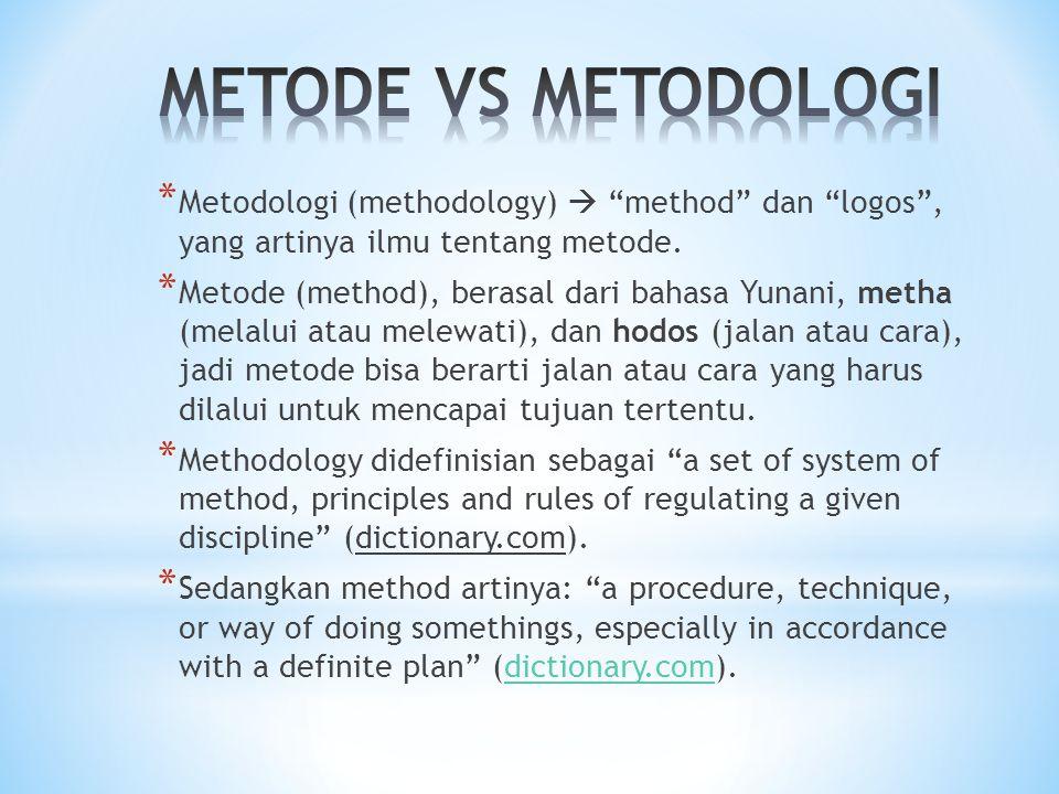 * Metodologi (methodology)  method dan logos , yang artinya ilmu tentang metode.