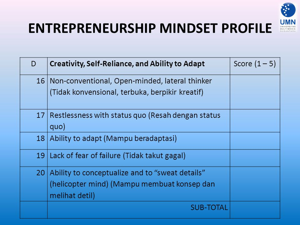 ENTREPRENEURSHIP MINDSET PROFILE DCreativity, Self-Reliance, and Ability to AdaptScore (1 – 5) 1616 Non-conventional, Open-minded, lateral thinker (Ti