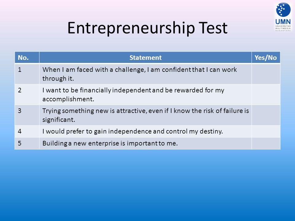 Entrepreneurship Test No.StatementYes/No 6My experiences during my youth and early carreer have shown me the benefits of starting a new enterprise.