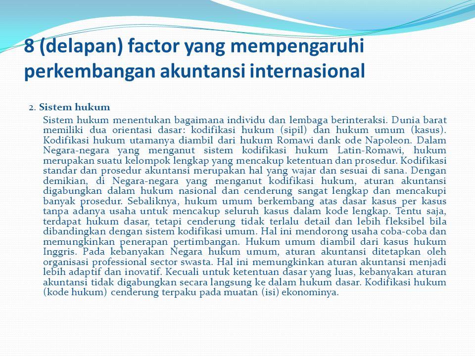 8 (delapan) factor yang mempengaruhi perkembangan akuntansi internasional 2. Sistem hukum Sistem hukum menentukan bagaimana individu dan lembaga berin