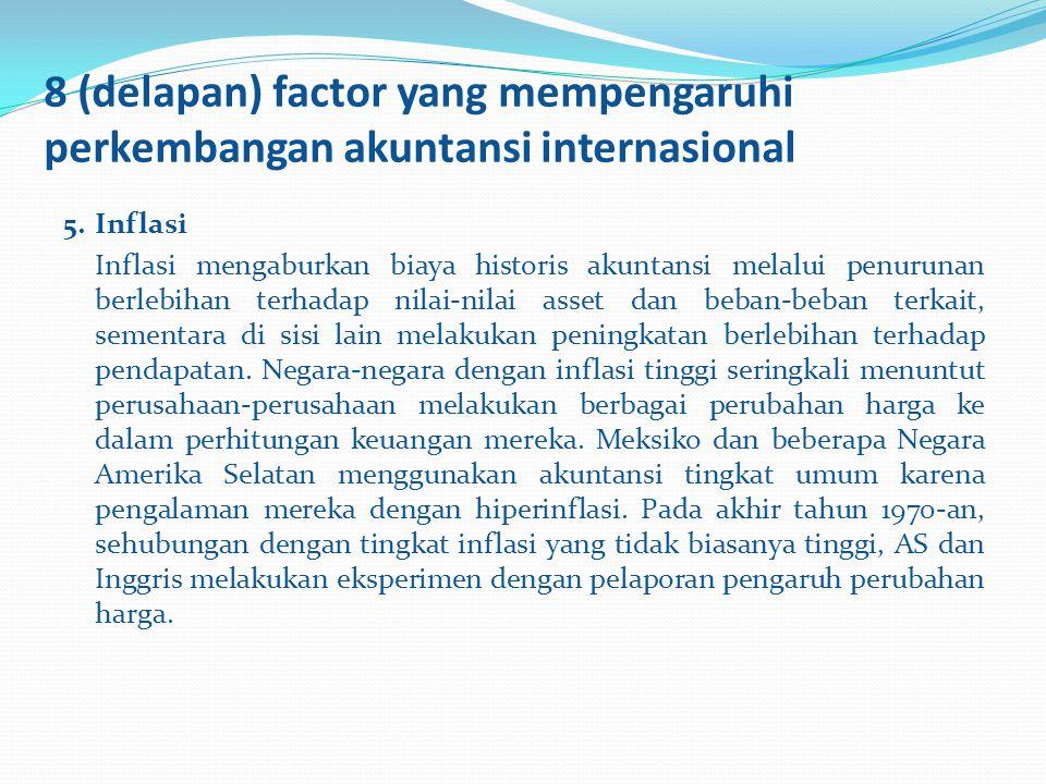 8 (delapan) factor yang mempengaruhi perkembangan akuntansi internasional 5.Inflasi Inflasi mengaburkan biaya historis akuntansi melalui penurunan ber