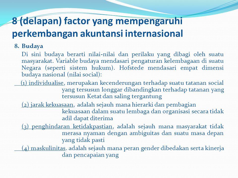 8 (delapan) factor yang mempengaruhi perkembangan akuntansi internasional 8.Budaya Di sini budaya berarti nilai-nilai dan perilaku yang dibagi oleh su