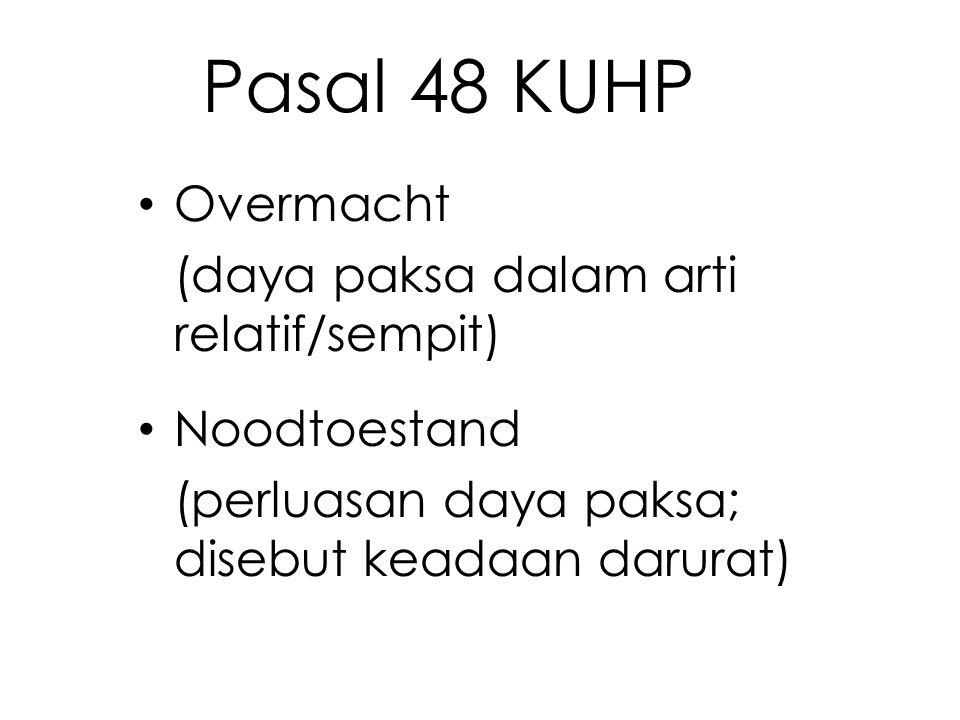 Pasal 48 KUHP Overmacht (daya paksa dalam arti relatif/sempit) Noodtoestand (perluasan daya paksa; disebut keadaan darurat)