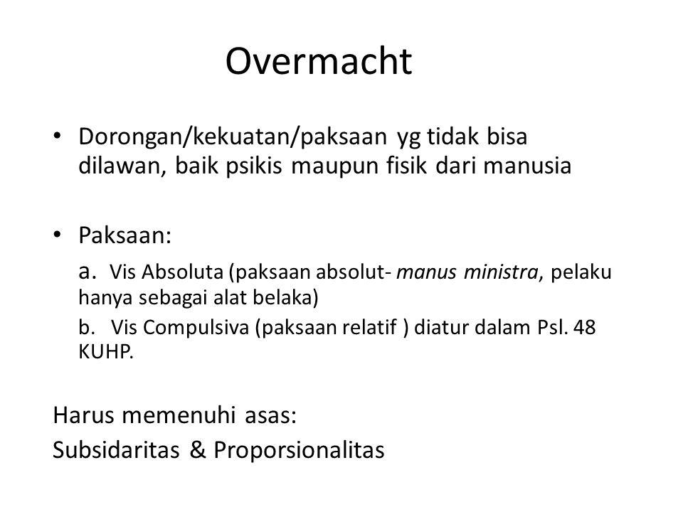 Overmacht Dorongan/kekuatan/paksaan yg tidak bisa dilawan, baik psikis maupun fisik dari manusia Paksaan: a. Vis Absoluta (paksaan absolut- manus mini
