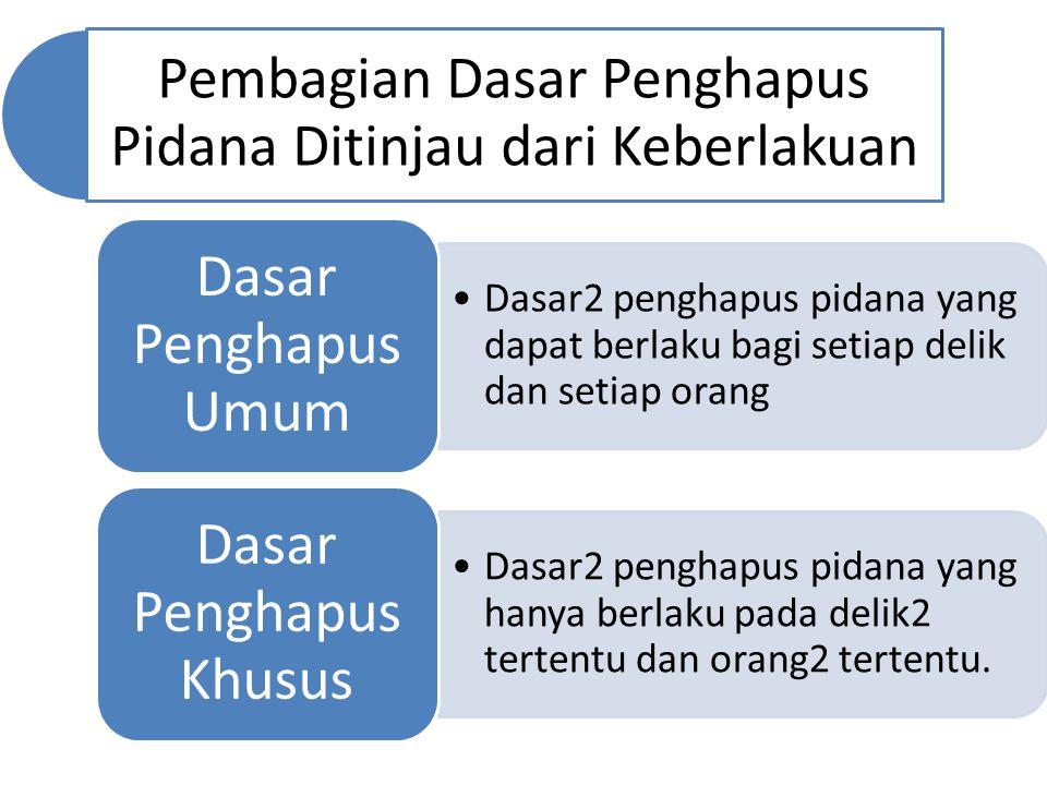 Pembagian Dasar Penghapus Pidana Ditinjau dari Keberlakuan Dasar2 penghapus pidana yang dapat berlaku bagi setiap delik dan setiap orang Dasar Penghap