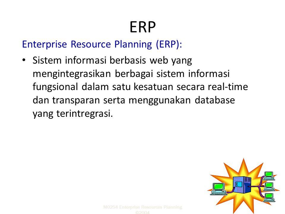 M0254 Enterprise Resources Planning ©2004 Enterprise Resource Planning (ERP): Sistem informasi berbasis web yang mengintegrasikan berbagai sistem info
