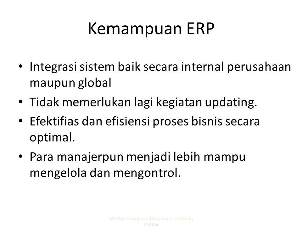 M0254 Enterprise Resources Planning ©2004 Kemampuan ERP Integrasi sistem baik secara internal perusahaan maupun global Tidak memerlukan lagi kegiatan