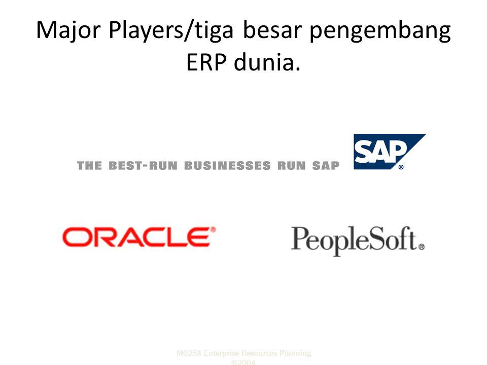 M0254 Enterprise Resources Planning ©2004 Major Players/tiga besar pengembang ERP dunia.