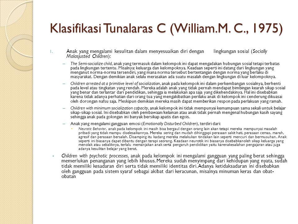 Klasifikasi Tunalaras C (William.M. C., 1975) 1. Anak yang mengalami kesulitan dalam menyesuaikan diri dengan lingkungan sosial (Socially Malasjusted