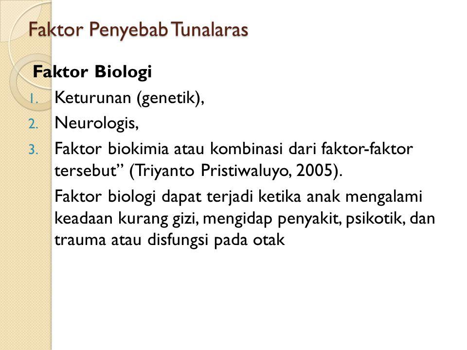 "Faktor Penyebab Tunalaras Faktor Biologi 1. Keturunan (genetik), 2. Neurologis, 3. Faktor biokimia atau kombinasi dari faktor-faktor tersebut"" (Triyan"