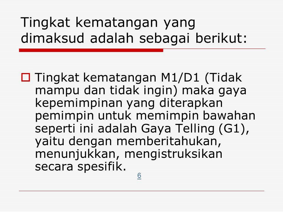 Tingkat kematangan yang dimaksud adalah sebagai berikut:  Tingkat kematangan M1/D1 (Tidak mampu dan tidak ingin) maka gaya kepemimpinan yang diterapk