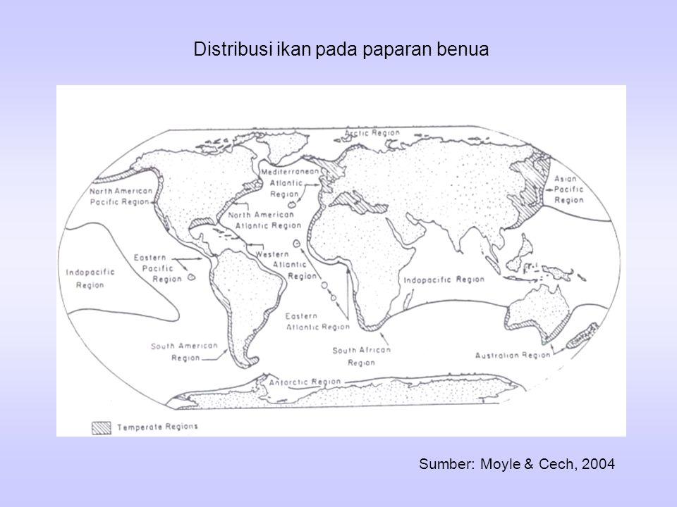 Distribusi ikan di laut dipisahkan dalam dua bidang, yaitu: paparan benua dan laut lepas Paparan benua dapat dipisahkan menjadi lima region: a. region