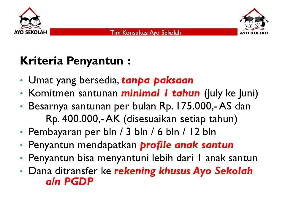 Kriteria Penyantun : Umat yang bersedia, tanpa paksaan Komitmen santunan minimal 1 tahun (July ke Juni) Besarnya santunan per bulan Rp.