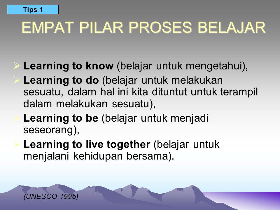 EMPAT PILAR PROSES BELAJAR  Learning to know (belajar untuk mengetahui),  Learning to do (belajar untuk melakukan sesuatu, dalam hal ini kita ditunt