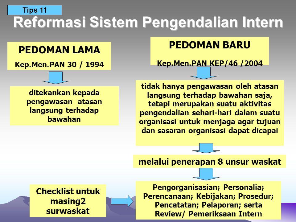 Reformasi Sistem Pengendalian Intern PEDOMAN LAMA Kep.Men.PAN 30 / 1994 PEDOMAN BARU Kep.Men.PAN KEP/46 /2004 ditekankan kepada pengawasan atasan lang