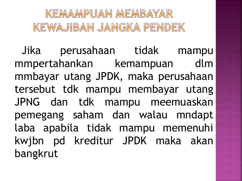 Jika perusahaan tidak mampu mmpertahankan kemampuan dlm mmbayar utang JPDK, maka perusahaan tersebut tdk mampu membayar utang JPNG dan tdk mampu meemu