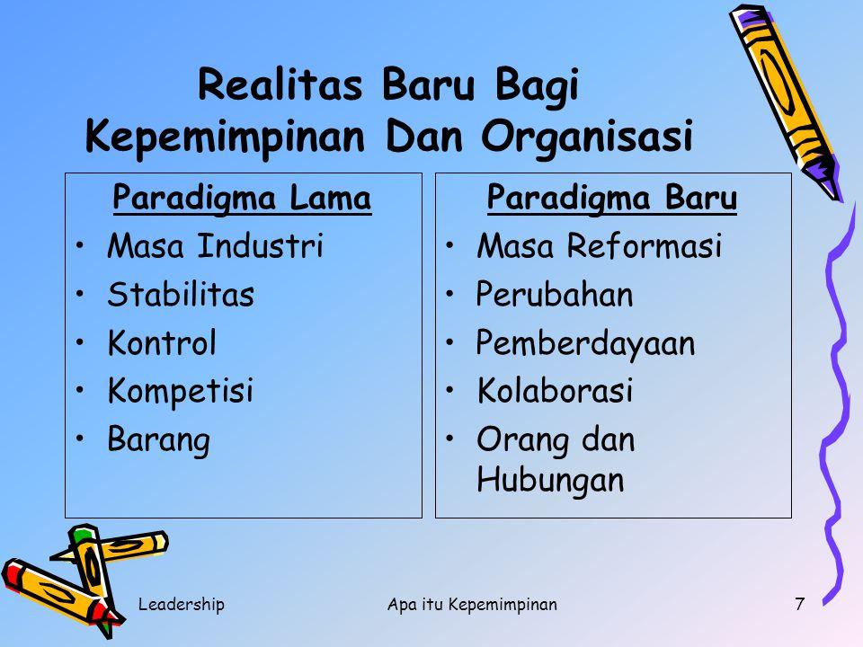LeadershipApa itu Kepemimpinan7 Realitas Baru Bagi Kepemimpinan Dan Organisasi Paradigma Lama Masa Industri Stabilitas Kontrol Kompetisi Barang Paradi