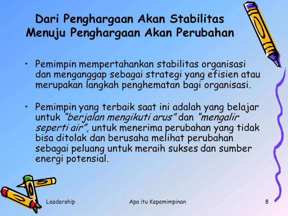 LeadershipApa itu Kepemimpinan8 Dari Penghargaan Akan Stabilitas Menuju Penghargaan Akan Perubahan Pemimpin mempertahankan stabilitas organisasi dan m