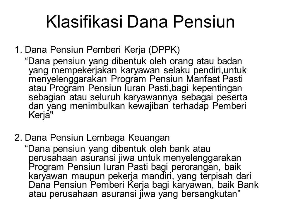 "Klasifikasi Dana Pensiun 1. Dana Pensiun Pemberi Kerja (DPPK) ""Dana pensiun yang dibentuk oleh orang atau badan yang mempekerjakan karyawan selaku pen"